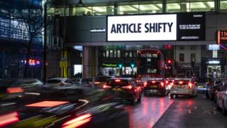 """A billboard in Holborn reads """"Article Shifty"""" - a play on Article 50"""