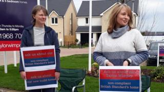 Families joined forces to protest outside a Taylor Wimpey development