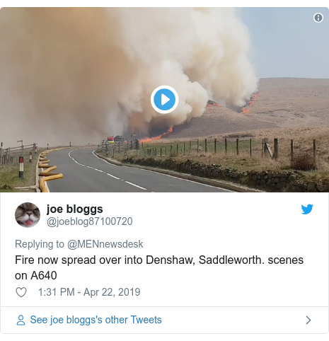 Twitter post by @joeblog87100720: Fire now spread over into Denshaw, Saddleworth. scenes on A640