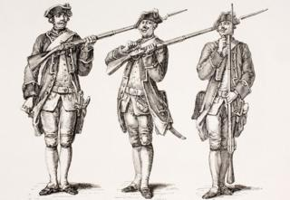 """Illustration entitled """"How To Charge A Musket"""" from A French Instruction Book Of 1776"""