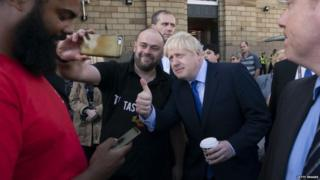 Boris Johnson during a visit to Doncaster
