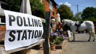 Polling station with a horse outside it