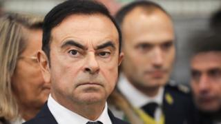Chairman and CEO of Renault-Nissan-Mitsubishi Carlos Ghosn looks on during a visit of French President at the Renault factory, in Maubeuge, northern France, on November 8, 2018.