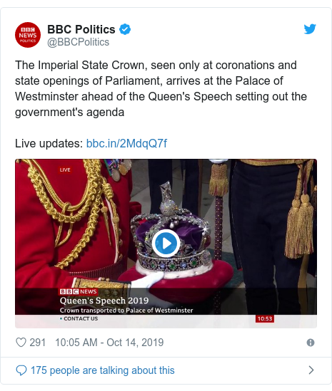 Twitter post by @BBCPolitics: The Imperial State Crown, seen only at coronations and state openings of Parliament, arrives at the Palace of Westminster ahead of the Queen's Speech setting out the government's agenda Live updates