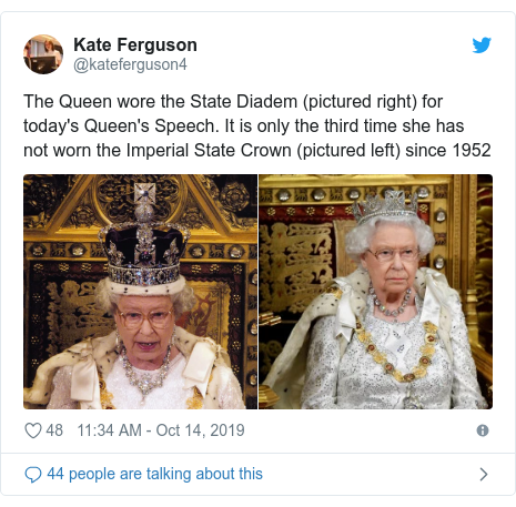 Twitter post by @kateferguson4: The Queen wore the State Diadem (pictured right) for today's Queen's Speech. It is only the third time she has not worn the Imperial State Crown (pictured left) since 1952